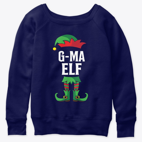 G Ma Elf Costume Family Christmas Navy  T-Shirt Front