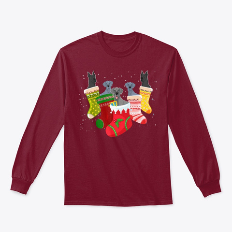 Funny Great Dane Christmas Sock Xmas Cardinal Red T-Shirt Front