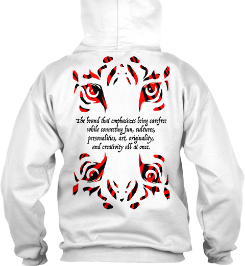 Reborn Classic Hoodie Red White T-Shirt Back