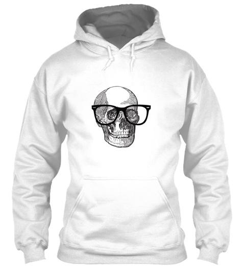 Hipster Skeleton Skull With Glasses White T-Shirt Front