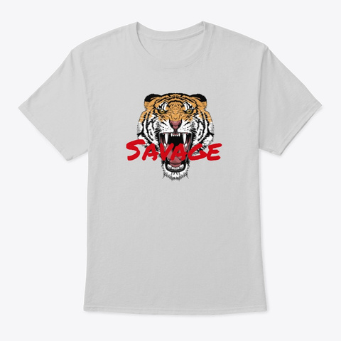 Savage Tiger Light Steel T-Shirt Front