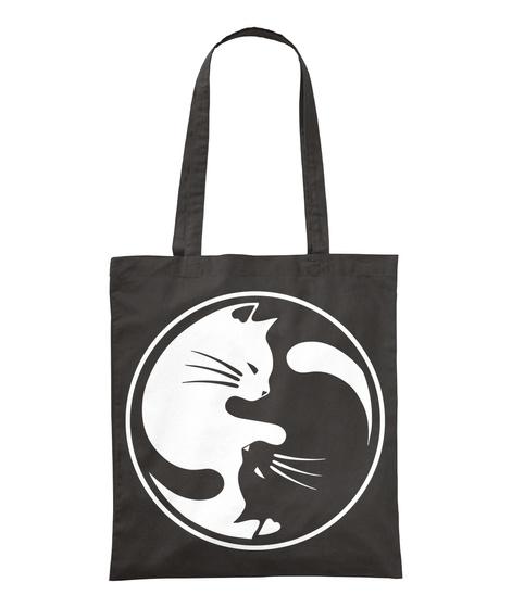 Love Ying Yang Cat Black T-Shirt Front