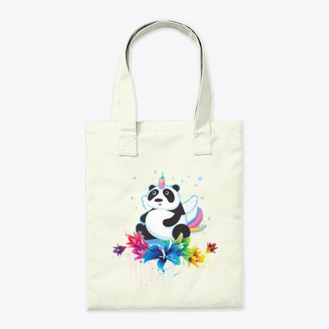 Flower Flying Panda Natural T-Shirt Back