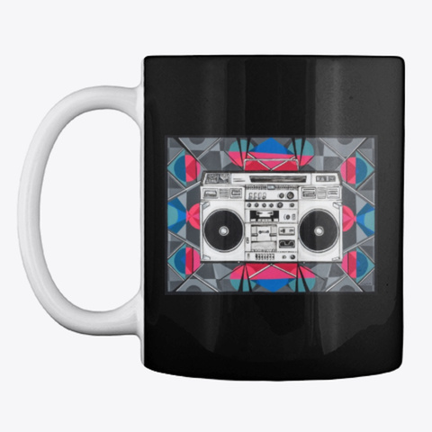 Boombox Coffee Cup Black T-Shirt Front