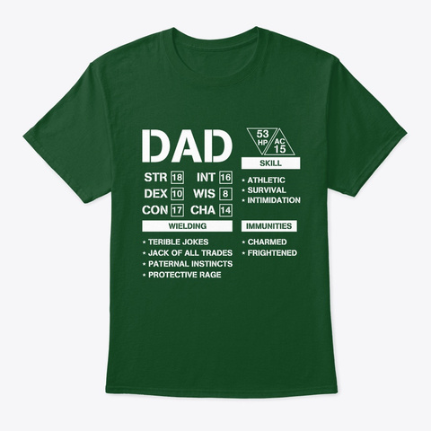 Dad Stats   Character Sheet   Fathers Da Deep Forest T-Shirt Front