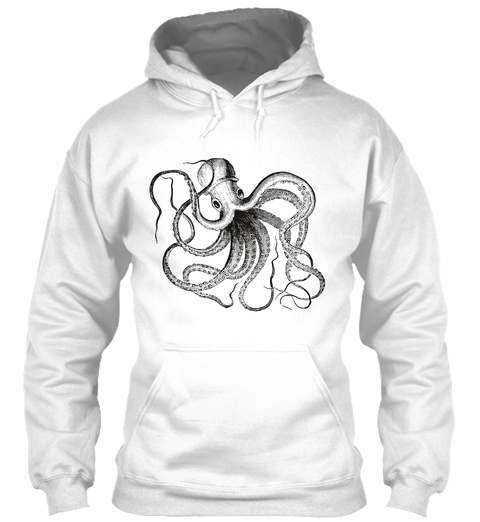 Octopus Hoodie Black  White T-Shirt Front