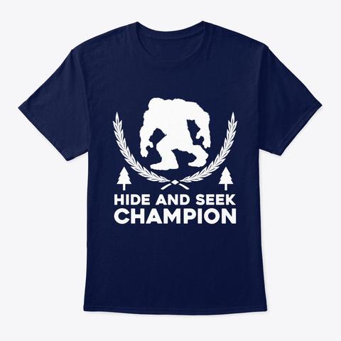Mens Hide And Seek Champion Funny Bigfoo Navy T-Shirt Front