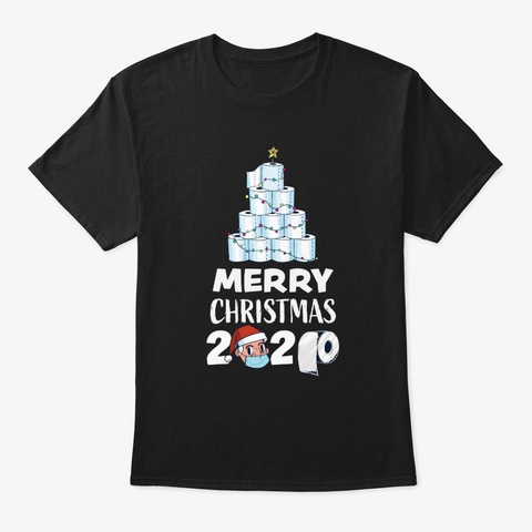 Merry Christmas 2020 Funny Tree Gift Black T-Shirt Front