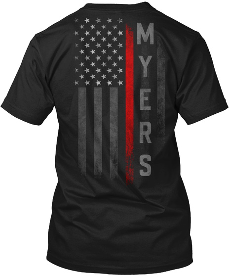 Myers Family Thin Red Line Black T-Shirt Back