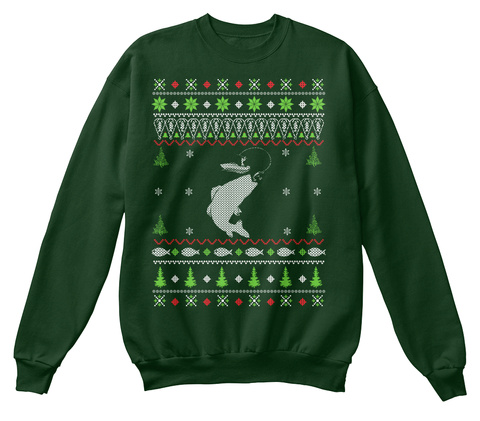 Bass fishing ugly christmas sweater products from fishing for Fishing christmas sweater