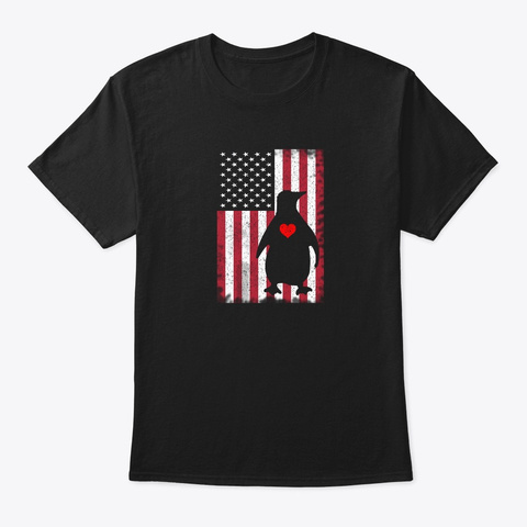 Funny Penguin 4th Of July American Flag  Black T-Shirt Front