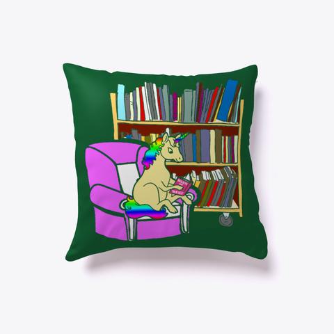 Unicorn Book Lover Librarian Bookworm Dark Green T-Shirt Front