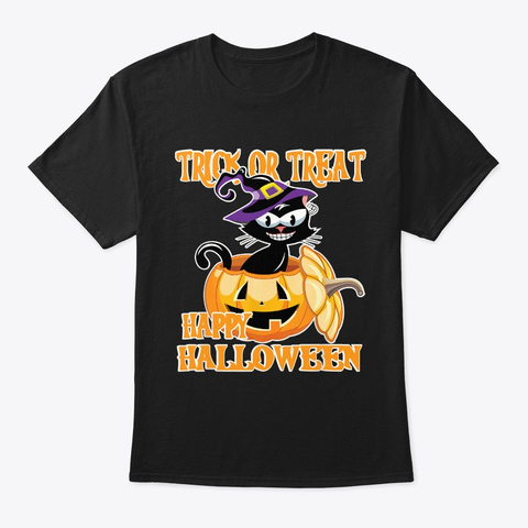 Trick Or Treat Cat Witch In Pumpkin Black T-Shirt Front
