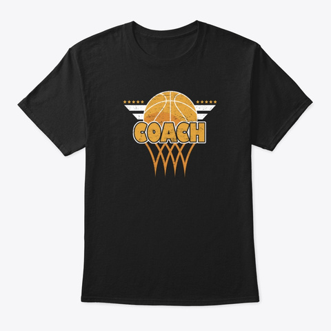 Distressed Basketball Coach T Shirt Black T-Shirt Front