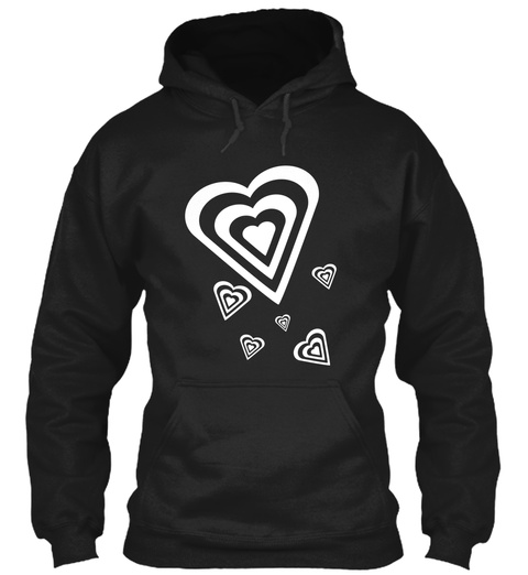 Hoodie Heart In Hearts Outlines Black T-Shirt Front