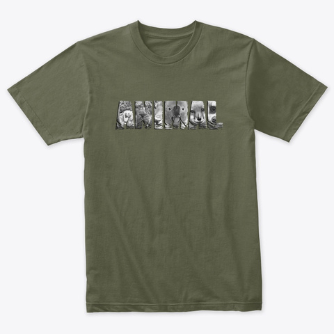 Animal Headshots V2 Military Green T-Shirt Front