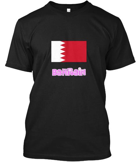 Bahrain Flag Pink Flower Design Black T-Shirt Front