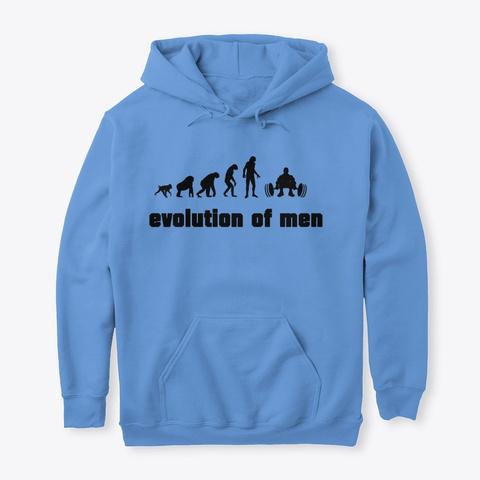Evolution Of Men Gym Motivation Design Carolina Blue T-Shirt Front