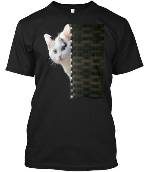 Cat Pocket Shirt Cute Cat T Shirt Black T-Shirt Front
