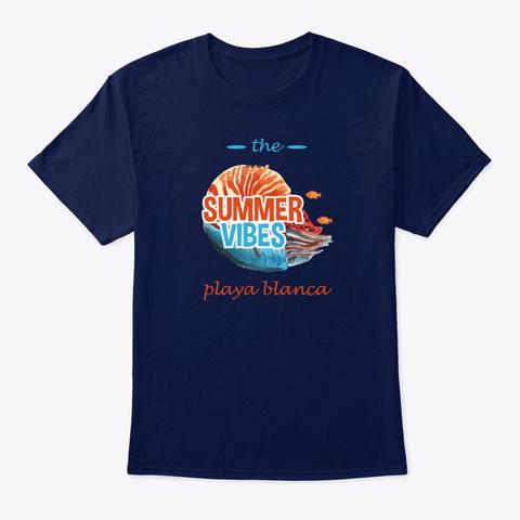 Summer Vibes Playa Blanca  Navy T-Shirt Front