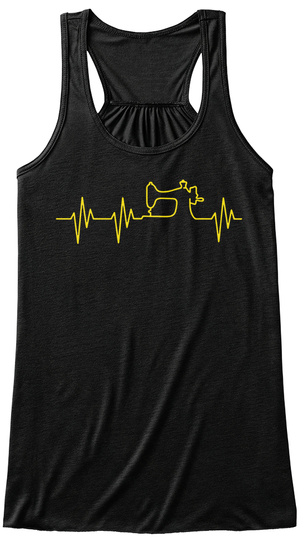 Quilters Heartbeat Black T-Shirt Front