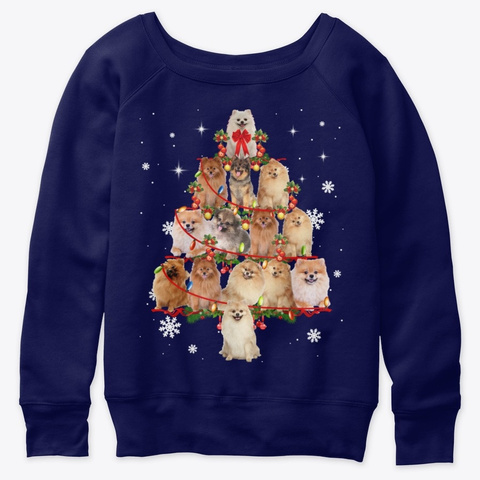 Pomeranian Christmas Tree Pet Dog Lover Navy  T-Shirt Front