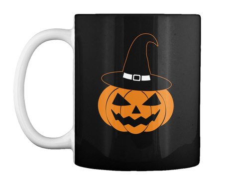 Pumkin Halloween Mug Black T-Shirt Front