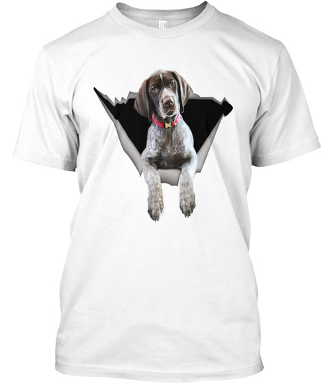 Sticker Car German Shorthaired Pointer White T-Shirt Front