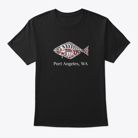 Port Angeles Washington Halibu Pnw Black T-Shirt Front