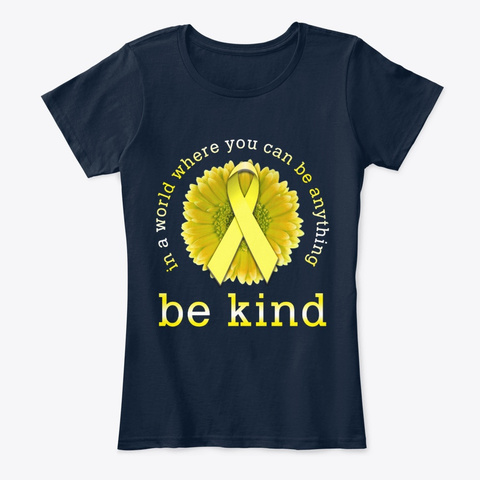 Childhood Cancer Flower Ribbon Be Kind New Navy T-Shirt Front