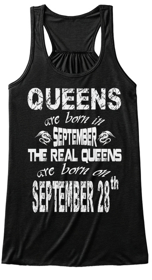 Queens Are Born In September 28 Th Black T-Shirt Front