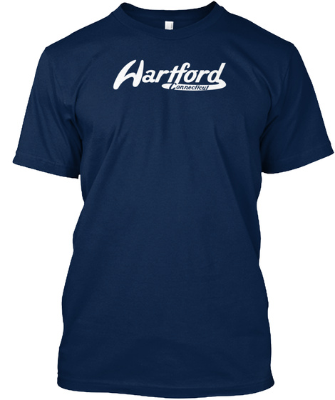Hartford Connecticut Vintage Logo Navy T-Shirt Front