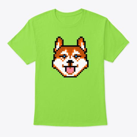 Red Husky Dog Pixel Art Lime T-Shirt Front