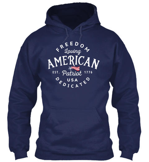 Hoodie American Patriot Freedom Flag Navy T-Shirt Front