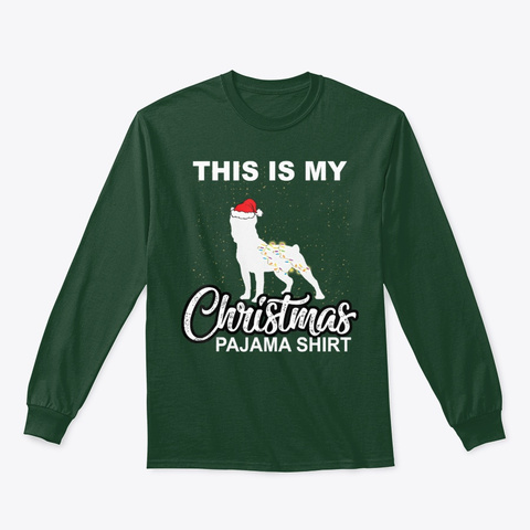 Boston Terriers Christmas Pajama Shirt Forest Green T-Shirt Front