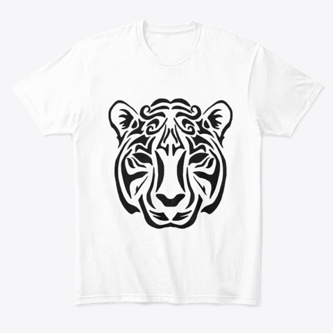 Tribal Tiger Black White T-Shirt Front