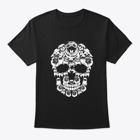 Pug Dog Halloween Skull Costumes Gifts Black T-Shirt Front