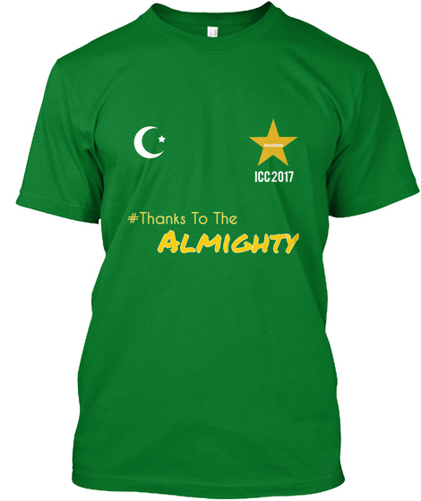 #Thanks To The Almighty Icc 2017 Pakistan Bright Green T-Shirt Front