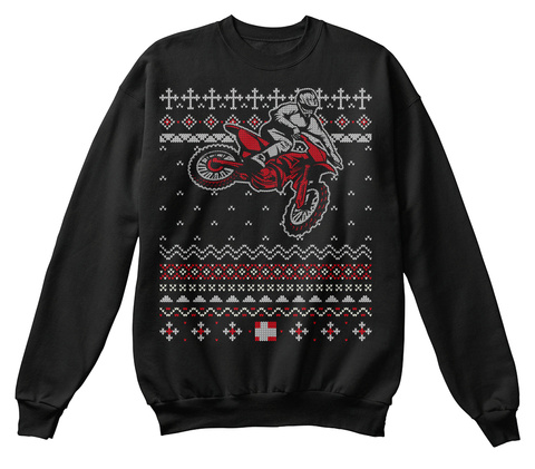 Motocross Rider Ugly Christmas Sweater Black T-Shirt Front