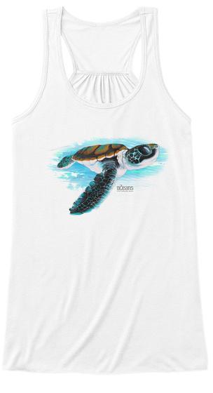 Sea Turtle Underwater White T-Shirt Front