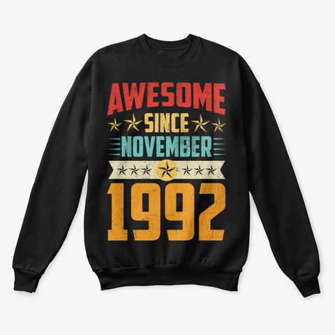 Awesome Since November 1992 Shirt Black T-Shirt Front