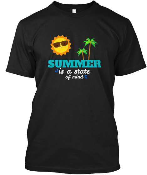 Summer Is A State Of Mind Sun Palms Black T-Shirt Front
