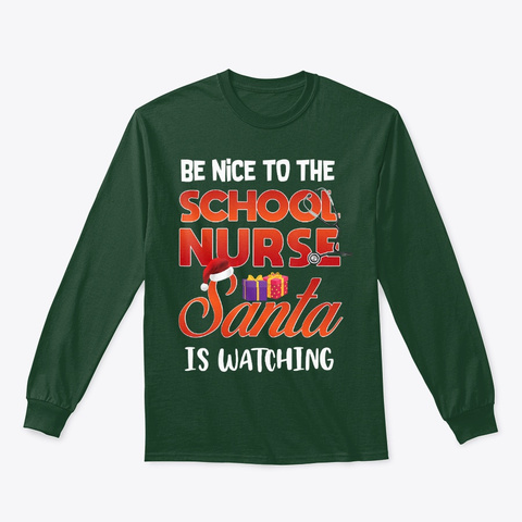 Funny Nurse Christmas Gifts School Nurse Forest Green T-Shirt Front