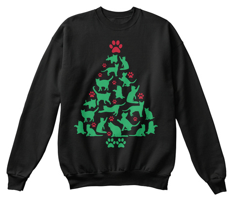 Cute Cats And Kittens Paw Christmas Tree Black T-Shirt Front