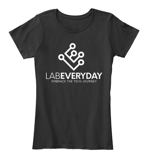 Labeveryday Women's White Logo Tech Tee Black T-Shirt Front
