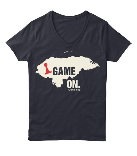 Game On. I John 3:18 Navy T-Shirt Front