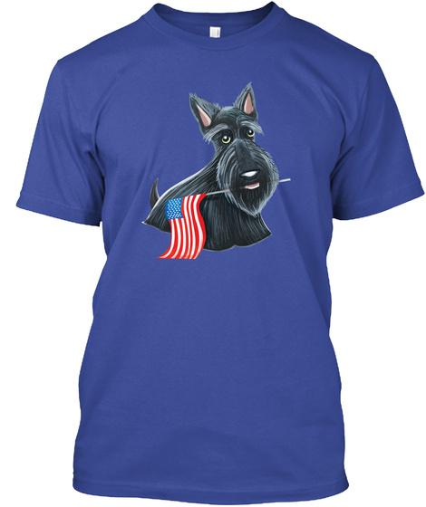 Patriotic Scottie Flag Deep Royal T-Shirt Front