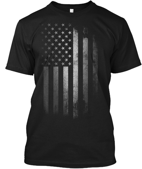 American Flag: Distressed Silver Black T-Shirt Front