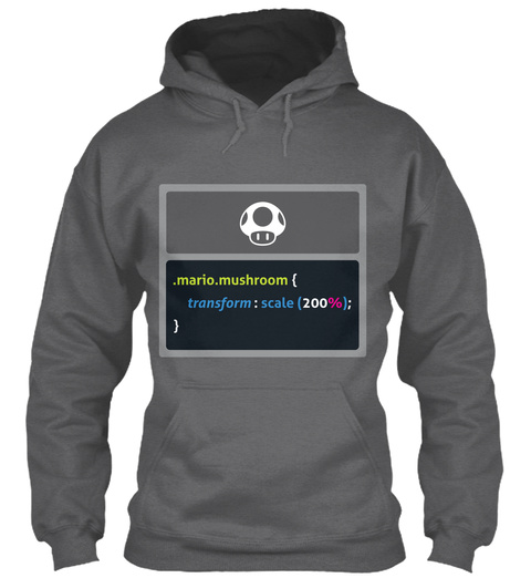 .Mario.Mushroom { Transform: Scale(200%); } Dark Heather T-Shirt Front
