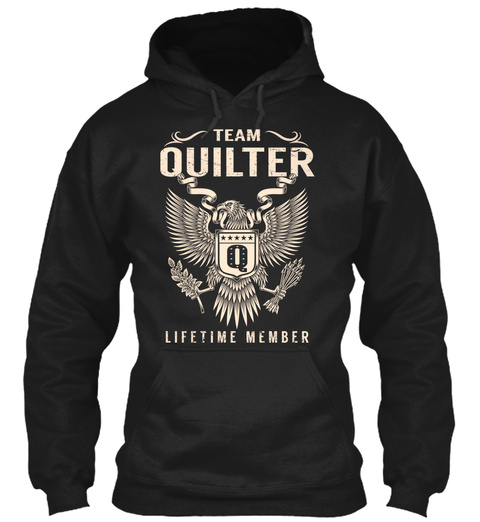 Team Quilter Q Life Time Member Black T-Shirt Front